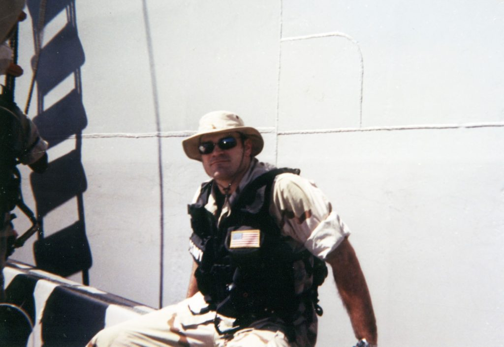 Jason returning to USS Germantown from mission in the Persian Gulf.